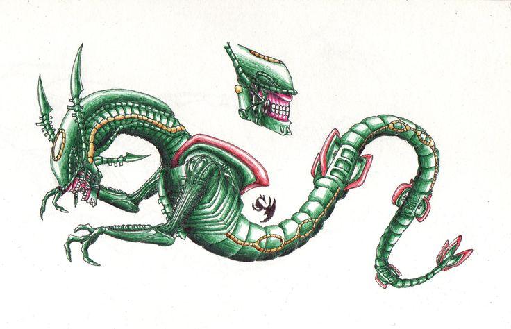 Chestburster Rayquaza #pokemon #rayquaza #alien #chestburster #xenomorph #drawing #art #conceptart