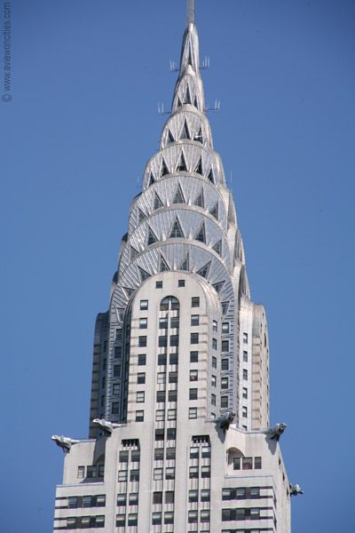 Chrysler Building, New York City. An archetypal American Art Deco skyscraper, the exterior of the building reflects the Chrysler automobile.