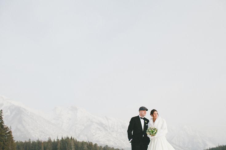 Real Winter Wedding in the Alberta Rocky Mountains!  Flowers: www.flowersbyjanie.com  #mountainwedding #rockymountainwedding #Canmoreweddingflorist #Calgaryweddingflorist #succulentbouquet #bridalbouquet  Julia   Mike // Alberta Winter Destination Wedding Photographer | http://shariandmike.ca/blog/julia-mike-alberta-winter-destination-wedding-photographer/
