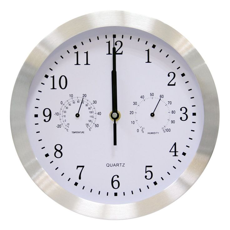 vsence silent non ticking quartz wall clock with thermometer and hygrometer aluminium indoor decor clock - Feldstein Kaminsimse