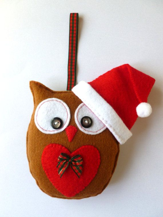 Christmas Felt Owl Hanging Decoration Handmade by SewJuneJones