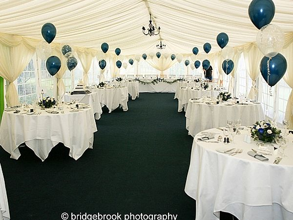 Wow what a nice setting with teal and clear balloons in for Balloon decoration for wedding receptions