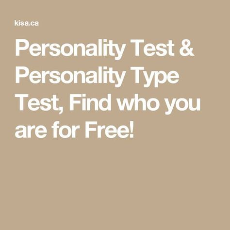 Personality Test & Personality Type Test, Find who you are for Free!