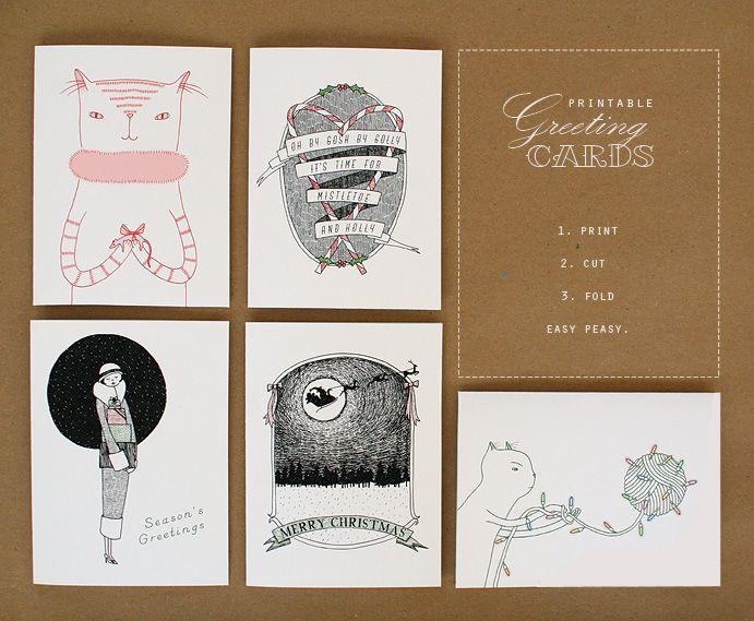 Printable Christmas Greeting Cards, available at Kitschy Digitals.