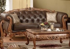 Meridian 668SLSET French Provincial Bonded Leather Sofa Loveseat