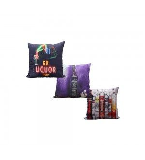 Liquor Shop Cushion Cover (Set of 3 Pcs.)