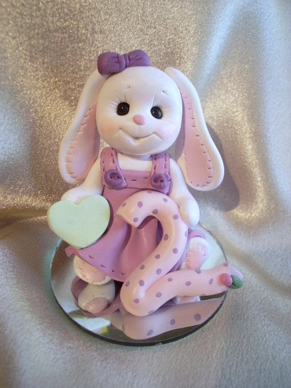 polymer clay rabbit second 2nd birthday cake topper