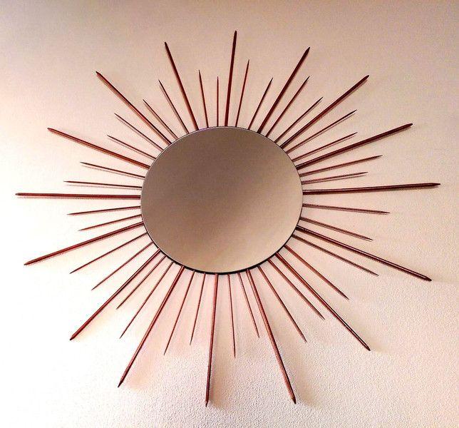 Spiegel - Kupferfarbener Spiegel im Sonnendesign - ein Designerstück von Industrial-Chic bei DaWanda