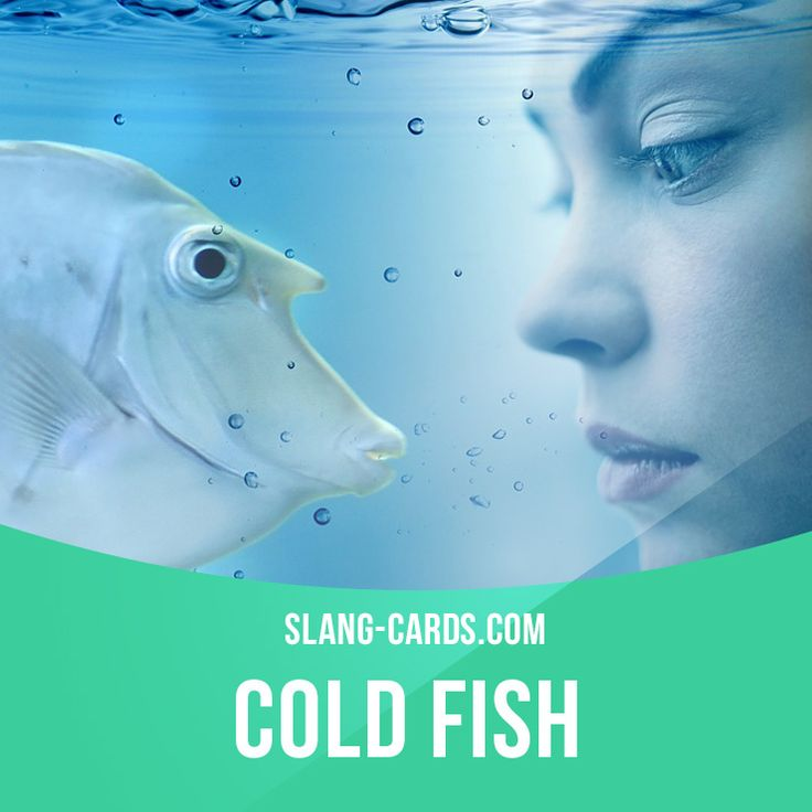 """""""Cold fish"""" means an unfriendly and unemotional person.  Example: Brad's new wife is a cold fish. When I went to their house, she never smiled once.  #slang #englishslang #saying #sayings #phrase #phrases #expression #expressions #english #englishlanguage #learnenglish #studyenglish #language #vocabulary #dictionary #efl #esl #tesl #tefl #toefl #ielts #toeic #englishlearning #vocab #coldfish #unfriendly #unemotional"""