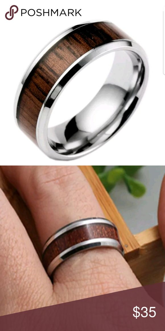 Men's Silver and Wood Inlay Ring 9 , 10 Stainless Steel with Wood inlay AprilsPlace Accessories Jewelry