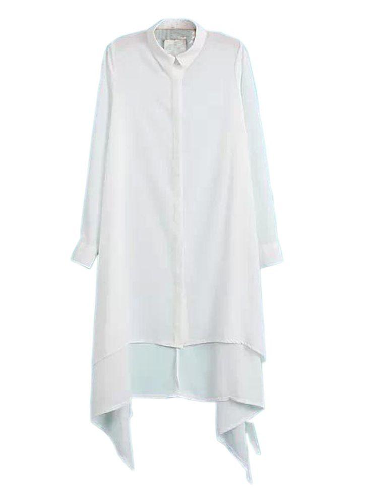 Белая Длинная Блузка С Неровным Подолом   Choies