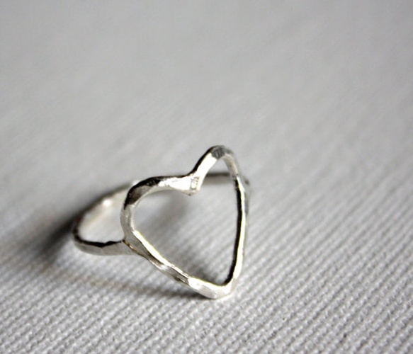 {Sterling Silver Heart Ring} hammered finish