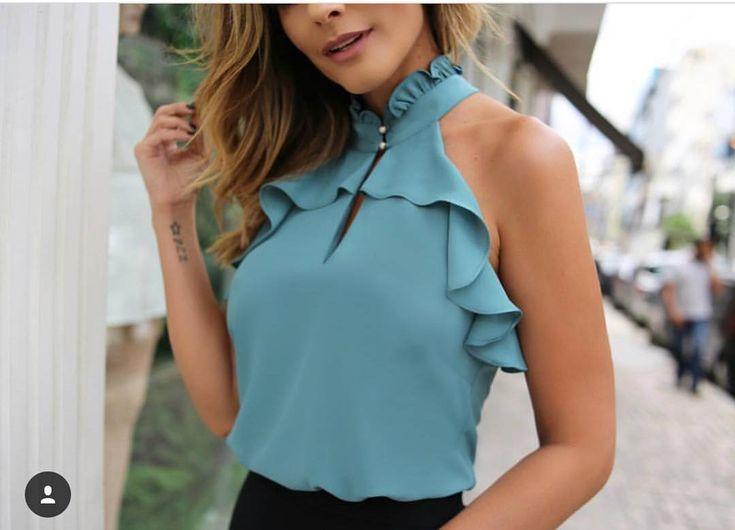 """168 Me gusta, 1 comentarios - Sibelle Modas (@sibellemodas) en Instagram: """"Blusa Ariella crepe babado R$129,90 Tam PMG Compre em nosso site WWW.SIBELLEMODAS.COM.BR…"""""""