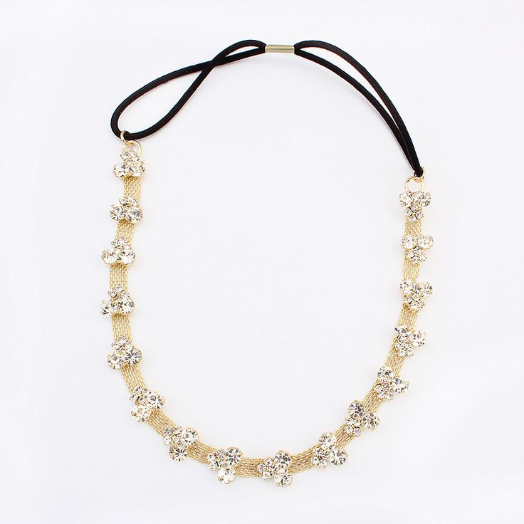 Chain Headband, Zinc Alloy, with Nylon Coated Rubber Rope, real gold plated, with rhinestone