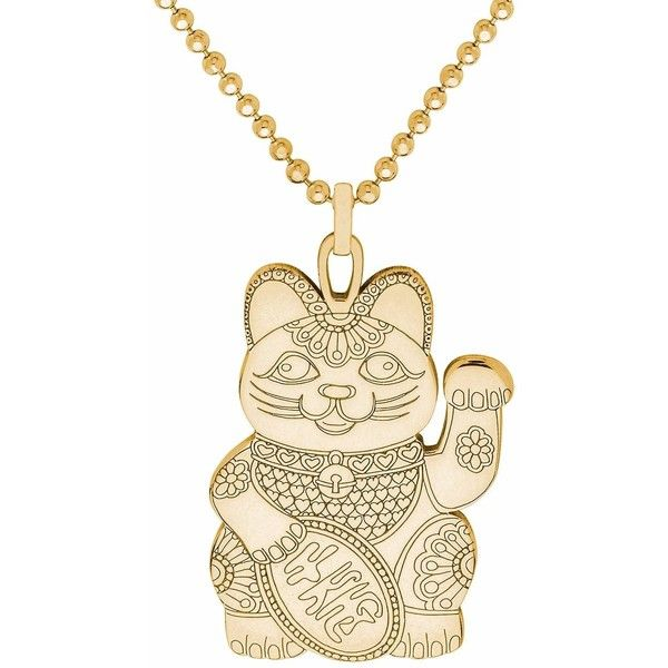 CarterGore - Gold Lucky Cat Pendant Necklace ($240) ❤ liked on Polyvore featuring jewelry, necklaces, tattoo choker necklaces, cat pendant necklace, cat necklace, gold layered necklace and gold necklace