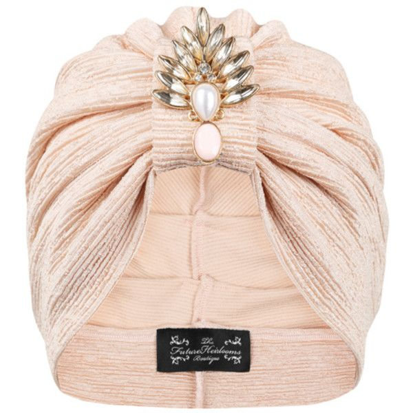 The Future Heirlooms Boutique Duchess Deco Jersey Turban ($53) ❤ liked on Polyvore featuring accessories, hats, extra, hair, pink, pink hat and turban hat