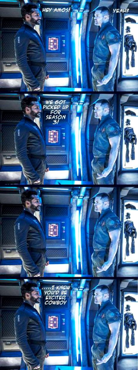 Excellent congratulation for Cas Anvar and The Expanse cast to get Season 3 on Syfy. Think Alex got Amos speechless. #Donkeyballs