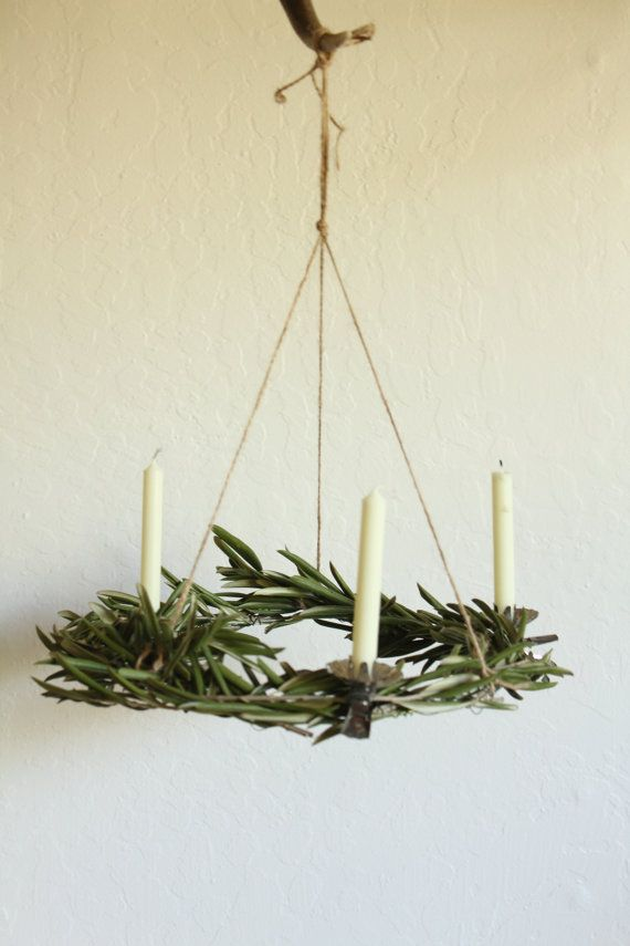 Scandinavian chandelier wreath with vintage candle by Luvlumi