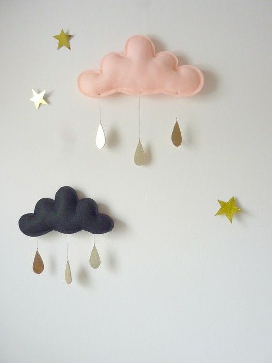 Sweet little rain cloud mobile.