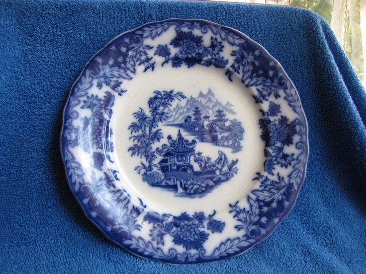 Antique Rorstrand Big plate Sweden Japan Motives Japanese Craquelure Blue White