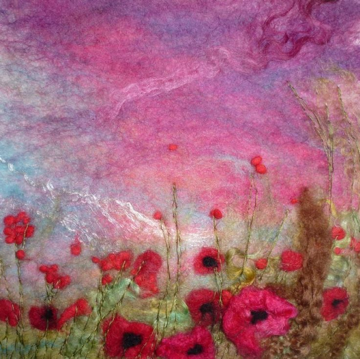 Poppies at Sunset SOLD  -  Threlfall's Art Studio   Silk Paintings   Felt Paintings   Acrylics   Caren and Pete   Country, Town and Seascapes   Workshops  
