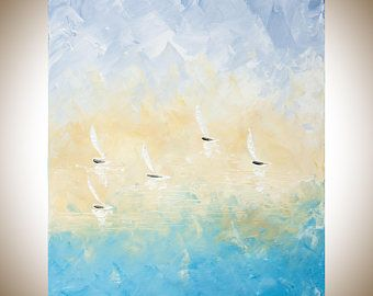 Sail boat Painting mist morning painting abstract seascape yellow orcher gray white Original artwork home decor wall art by qiqigallery