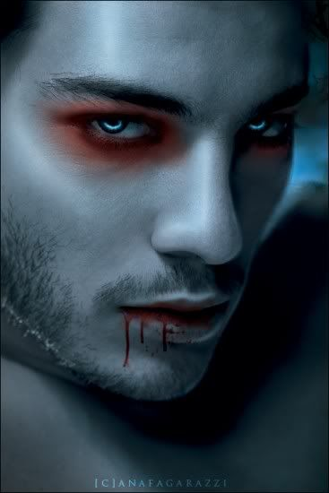 Male Vampire. I think I would prefer the eye makeup to be all black though for our shoot. And more gore :D