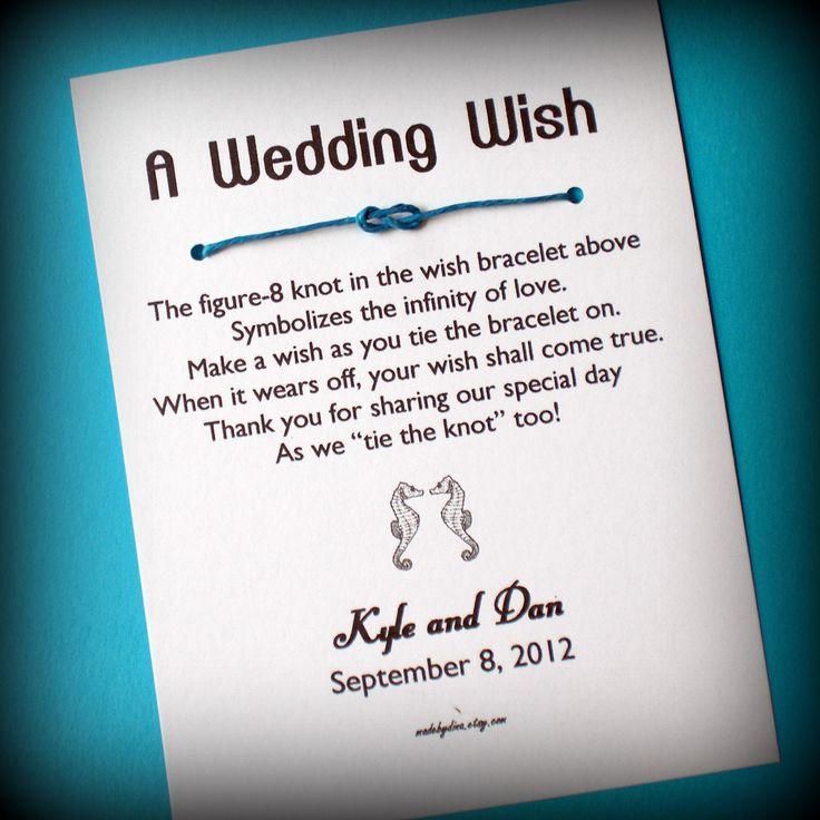 Beach Wedding - A Wedding Wish with Seahorses - Wish Bracelet Wedding Favor Custom Made for You. $1.85, via Etsy.