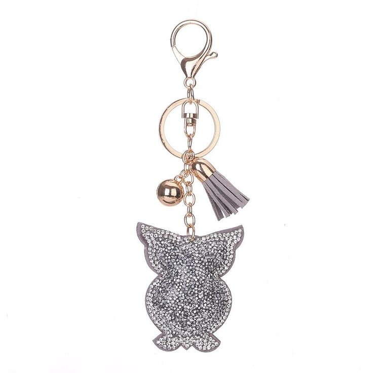 Owl Rhinestone Tassel Keychain Bag Handbag Key Ring Car Key Pendant