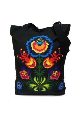 Kolorowa torba z kwiatowym nadrukiem w stylu etno