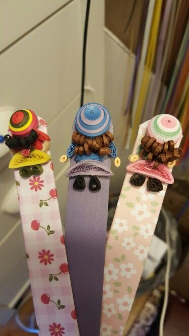 Quilled paper dolls , bookmarks!