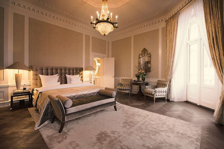 Hotel d'Angleterre Royal Suite bedroom. Room by GA Designs. Photography by Hotel d'Angleterre.