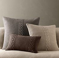RH's Belgian Linen Knit Pillow Covers:Knit from pure Belgian linen yarns, our pillow sham has the look of a favorite vintage cable sweater.
