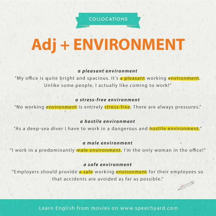 Collocations Adjective + Environment