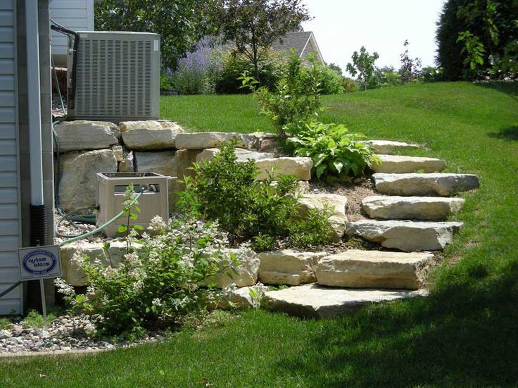 Enchanting Small Garden Landscape Ideas With Stepping Walk: Designing Steep Hill Landscaping For Small Garden Ideas In