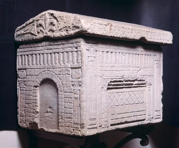 Etruscan sarcophagus in the shape of an Etruscan house. C.700BC Florence archaeological museum
