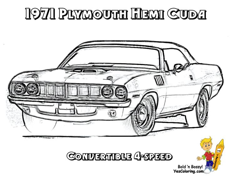 1971 Plymouth Hemi Cuda 4 Speed Muscle Car To Color In