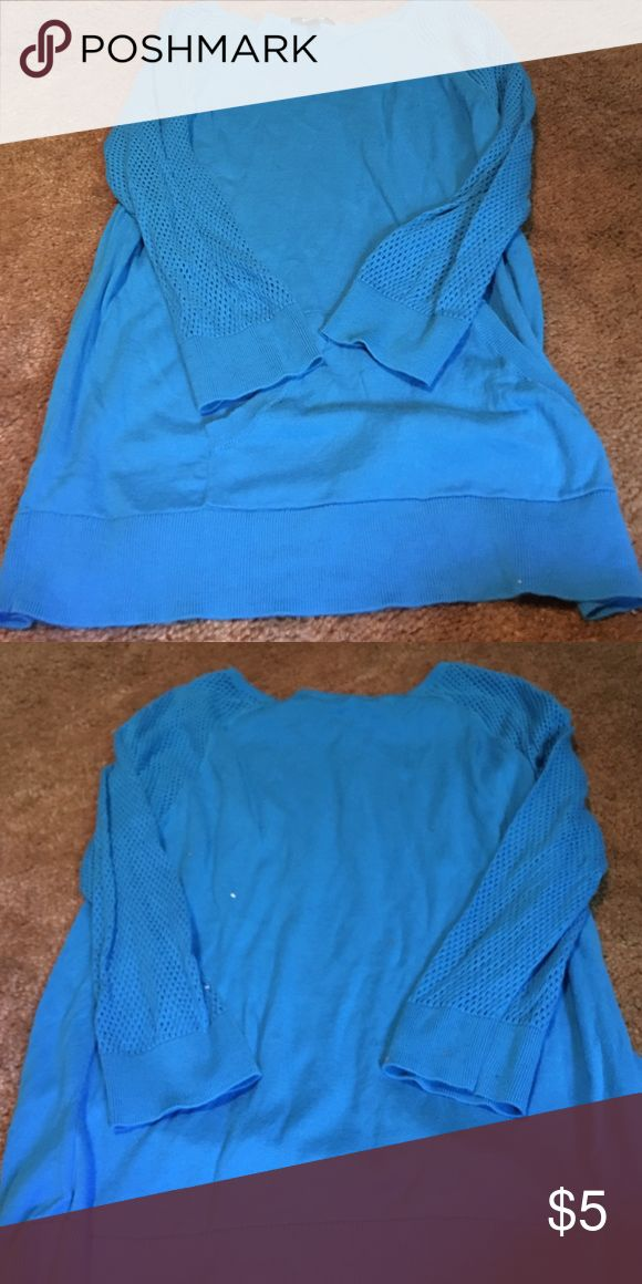 Chaps, large blue sweater Mesh on sleeves, pocket on front, super cute Chaps Sweaters