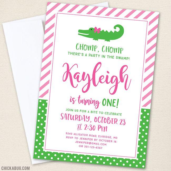Pink Alligator Birthday Party Invitations