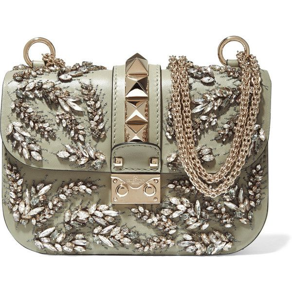 Valentino Lock embellished leather shoulder bag, Women's, Size: One... (£2,285) ❤ liked on Polyvore featuring bags, handbags, shoulder bags, genuine leather handbags, valentino purses, studded leather handbag, brown handbags and studded leather purse