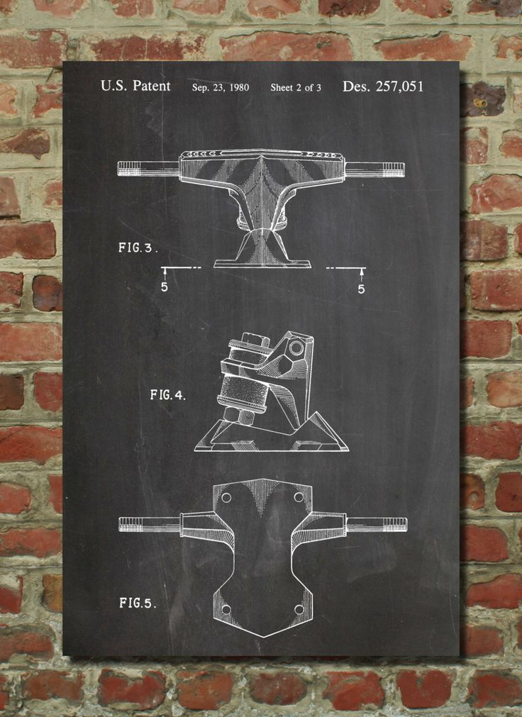 skateboard trucks patent poster skateboard decor skate art vintage