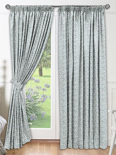 Leafy Cool Blue Curtains from Curtains 2go