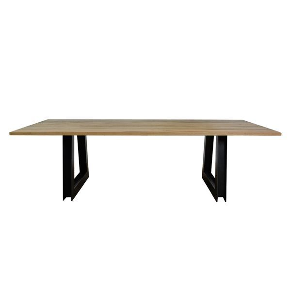 SHEFFIELD TABLE  - Solid timber table top, with a powdercoated Australian made steel base. The table photographed has legs in a Gunmetal finish, with a Rough sawn Oak top measuring 2600 x 1200mm.  Australian made with a Lifetime Guarantee.