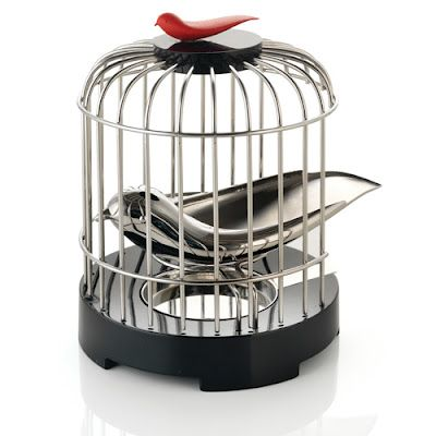 Tea Matter Tea Strainer: Designed by Alan Chan for Alessi, it features a tea strainer bird. Use it to strain tea while pouring from a teapot and place it back inside; it tweets melodically when removing and placing back inside.