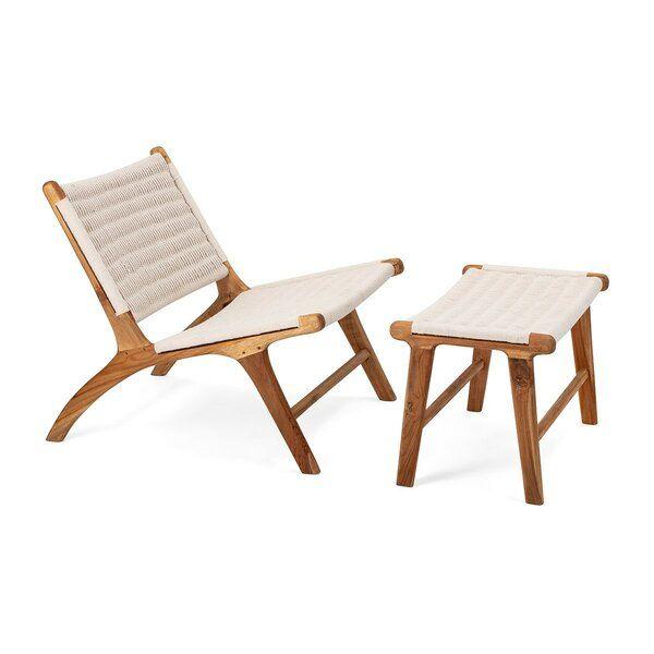 Evans Woven Teak Chair With Ottoman Set Of 2 Dimension 27 5 16 5 H X 26 26 W X 30 15 75 D 65 Wood Fram Teak Lounge Chair Teak Chairs Chair And Ottoman Set