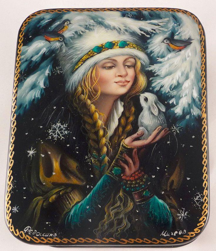Russian Lacquer Box Snow Maiden