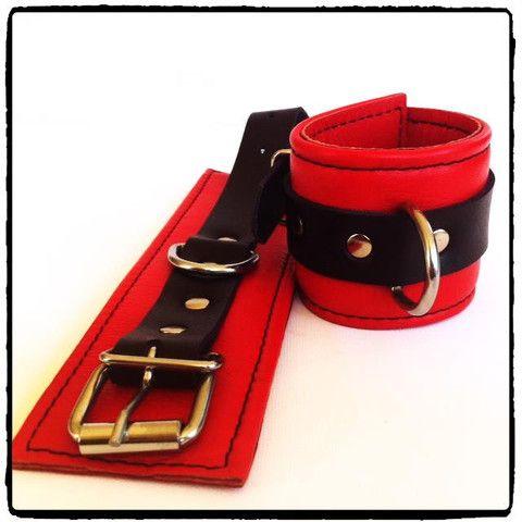 Red Leather Wrist Cuffs – Lady Kink