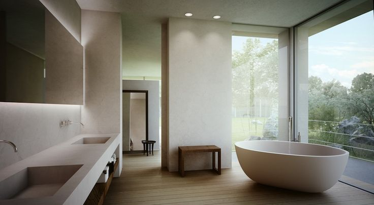 Luxury master bathroom with wooden floor and white freestanding bathtub. 50 Magnificent Luxury Master Bathroom Ideas ➤To see more Luxury Bathroom ideas visit us at www.luxurybathrooms.eu #luxurybathrooms #homedecorideas #bathroomideas @BathroomsLuxury