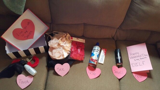This is what I did for the 5 senses  for my valentine!  I did for taste K.Y., blind fold and handcuffs for see I did lingerie and rose petals, for tas…