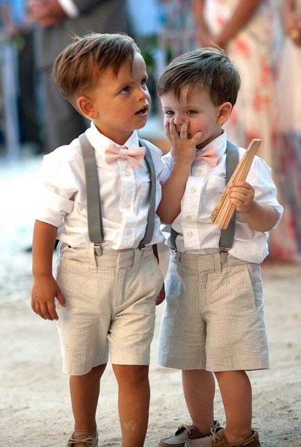 Perfect look for adorable little ring boys at a rustic themed wedding.